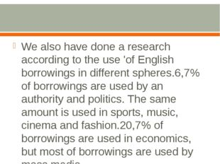 We also have done a research according to the use 'of English borrowings in