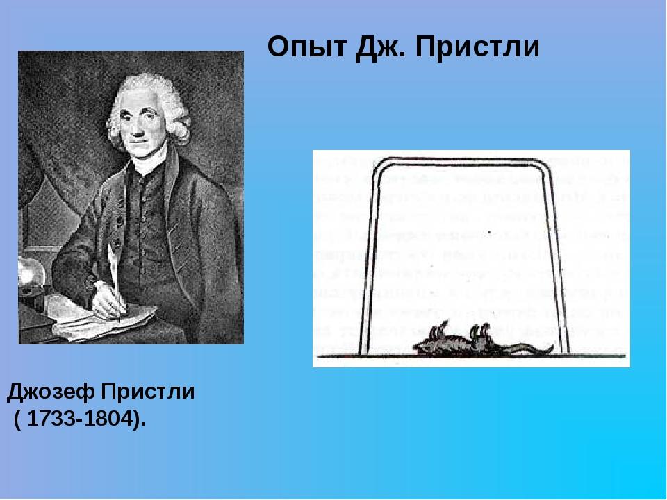 Джозеф Пристли ( 1733-1804). Опыт Дж. Пристли
