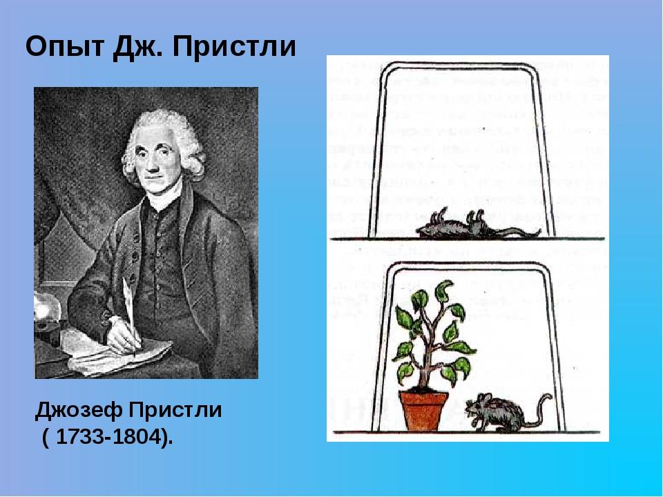 Опыт Дж. Пристли Джозеф Пристли ( 1733-1804).