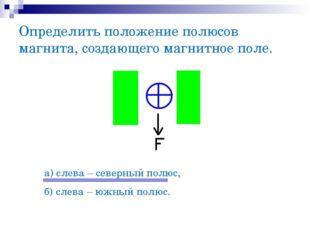 Определить положение полюсов магнита, создающего магнитное поле. а) слева – с
