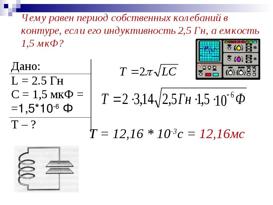 Чему равен период собственных колебаний в контуре, если его индуктивность 2,5...