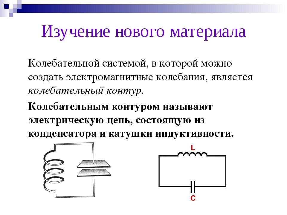 Изучение нового материала Колебательной системой, в которой можно создать эл...