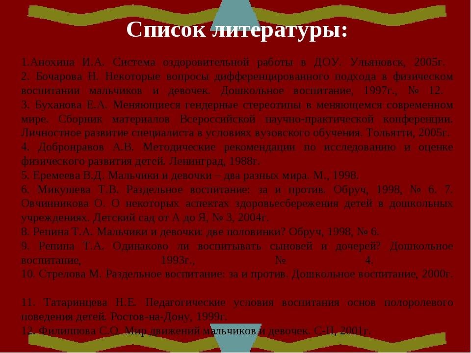 Список литературы:  1.Анохина И.А. Система оздоровительной работы в ДОУ. Уль...