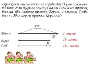 «Кто какое место занял на соревнованиях по прыжкам в длину, если Кирилл прыгн