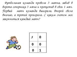 Футбольная команда провела 3 матча, забив в ворота соперника 3 мяча и пропус