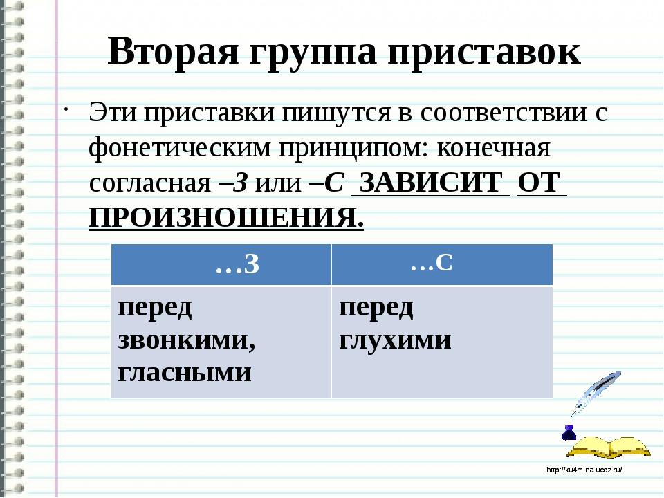 Вторая группа приставок Эти приставки пишутся в соответствии с фонетическим п...