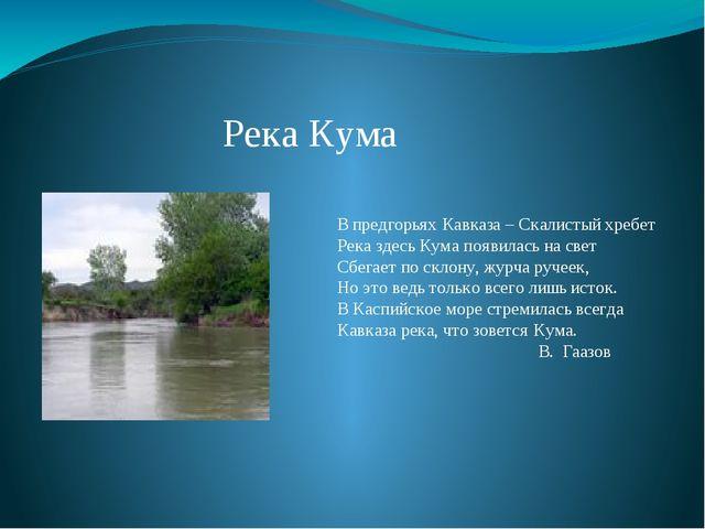 Река Кума В предгорьях Кавказа – Скалистый хребет Река здесь Кума появилась н...