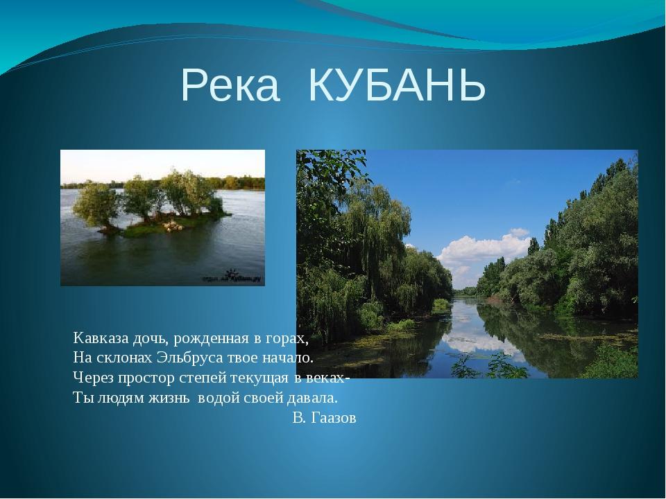 Река КУБАНЬ Кавказа дочь, рожденная в горах, На склонах Эльбруса твое начало....