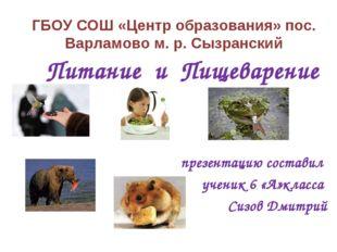 ГБОУ СОШ «Центр образования» пос. Варламово м. р. Сызранский Питание и Пищева