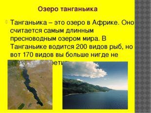 Озеро танганьика Танганьика – это озеро в Африке. Оно считается самым длинным