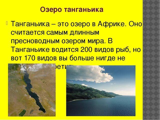 Озеро танганьика Танганьика – это озеро в Африке. Оно считается самым длинным...