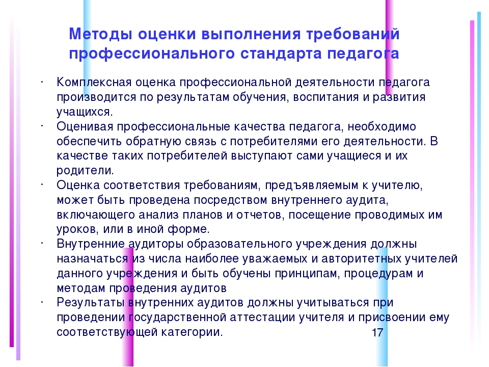 Методы оценки выполнения требований профессионального стандарта педагога Комп...