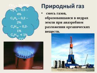 СН4 – 80-98% С2Н6 – 0,5 – 4% С3Н8 – 0,2 – 2% С4Н10 – 0,2- 1% С5Н10 < 1% N2, C