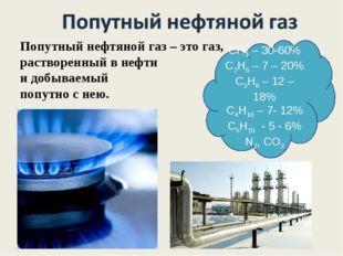 СН4 – 30-60% С2Н6 – 7 – 20% С3Н8 – 12 – 18% С4Н10 – 7- 12% С5Н10 - 5 - 6% N2,