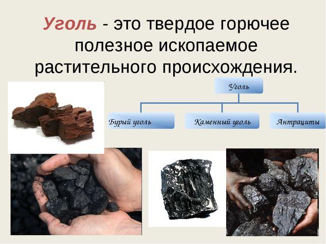 Уголь - это твердое горючее полезное ископаемое растительного происхождения.