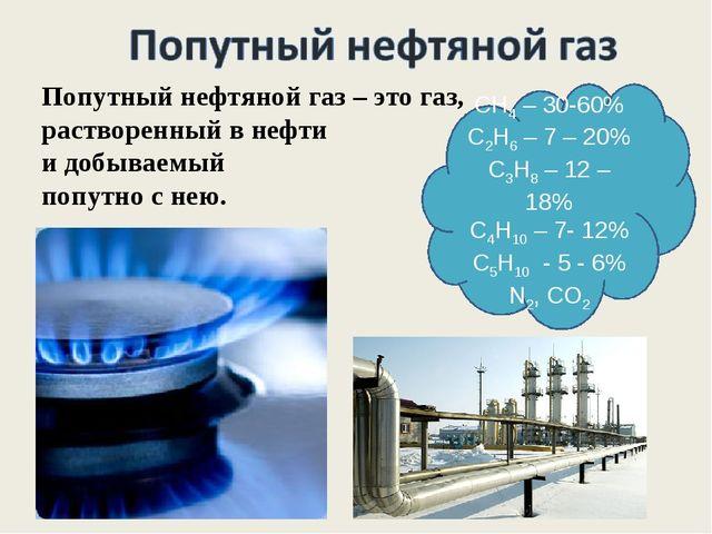 СН4 – 30-60% С2Н6 – 7 – 20% С3Н8 – 12 – 18% С4Н10 – 7- 12% С5Н10 - 5 - 6% N2,...