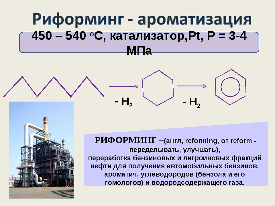 450 – 540 оС, катализатор,Pt, Р = 3-4 МПа - Н2 - Н2 РИФОРМИНГ –(англ, reformi...