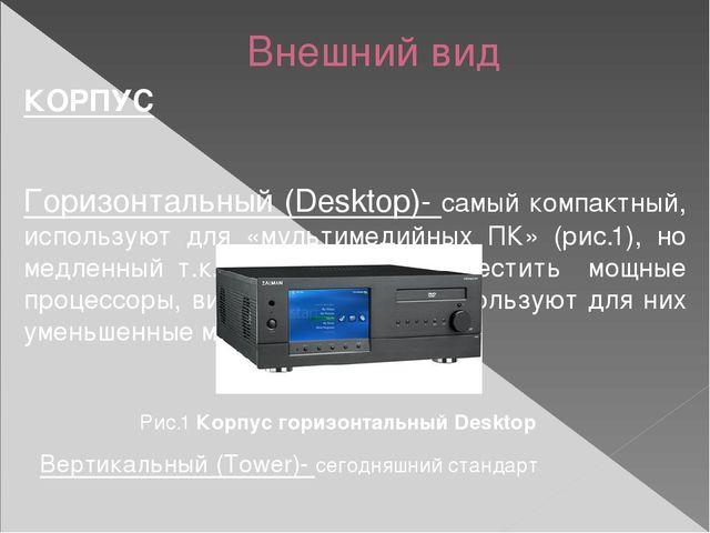 Внешний вид КОРПУС Горизонтальный (Desktop)- самый компактный, используют для...