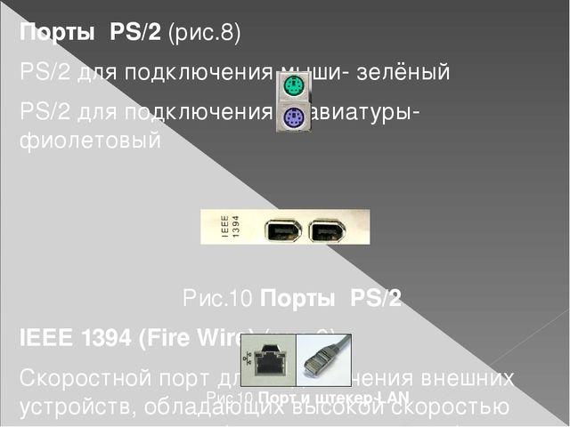 Порты PS/2 (рис.8) PS/2 для подключения мыши- зелёный PS/2 для подключения кл...