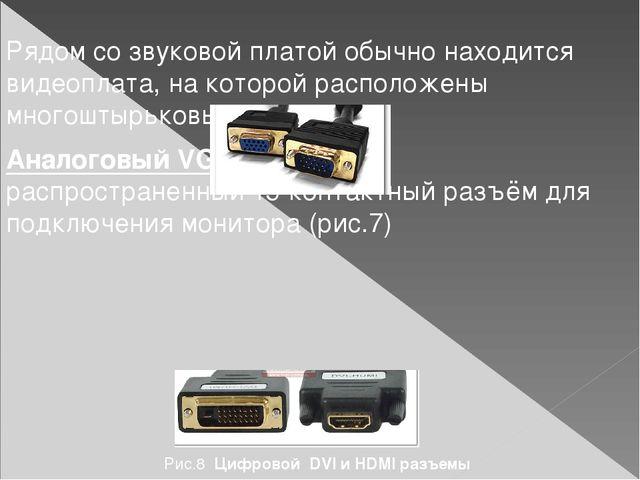 Рядом со звуковой платой обычно находится видеоплата, на которой расположены...
