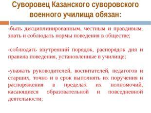 Суворовец Казанского суворовского военного училища обязан: -быть дисциплиниро