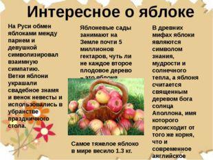 Интересное о яблоке Яблоневые сады занимают на Земле почти 5 миллионов гектар