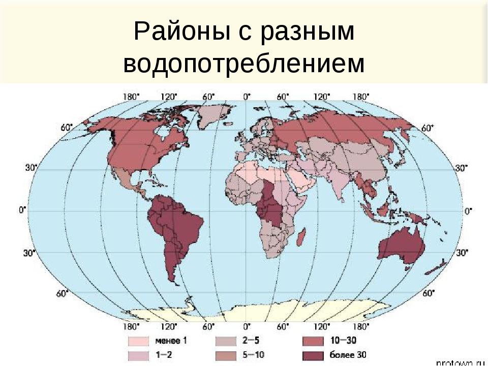 Районы с разным водопотреблением