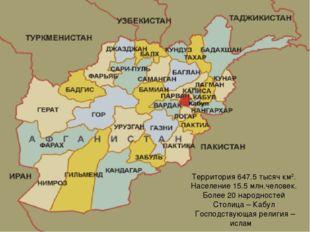 Территория 647.5 тысяч км2. Население 15.5 млн.человек. Более 20 народностей