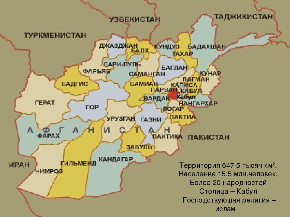 Территория 647.5 тысяч км2. Население 15.5 млн.человек. Более 20 народностей...