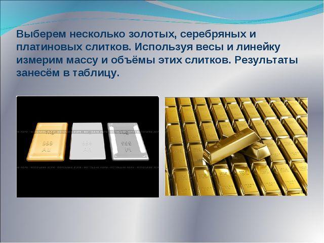 Выберем несколько золотых, серебряных и платиновых слитков. Используя весы и...