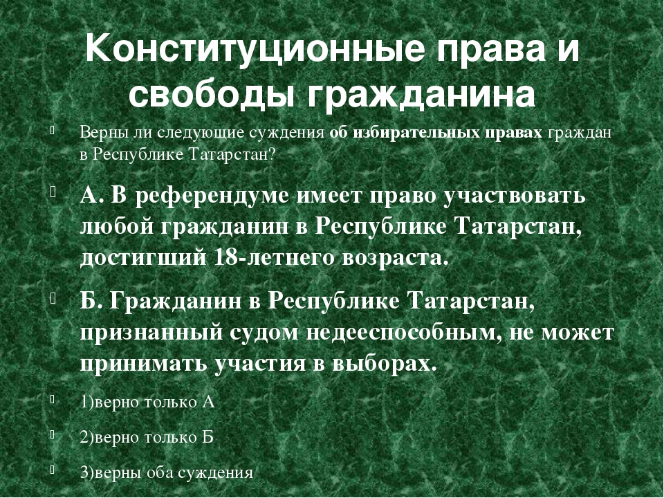 Конституционные права и свободы гражданина Верны ли следующие суждения об изб...