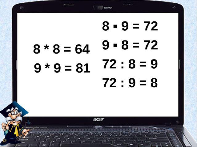 8 * 8 = 64 9 * 9 = 81 8 ▪ 9 = 72 9 ▪ 8 = 72 72 : 8 = 9 72 : 9 = 8