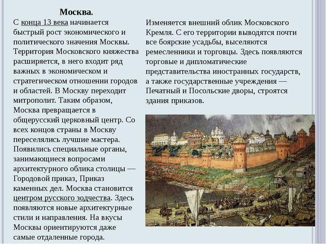 Москва. Сконца 13 веканачинается быстрый рост экономического и политическог...