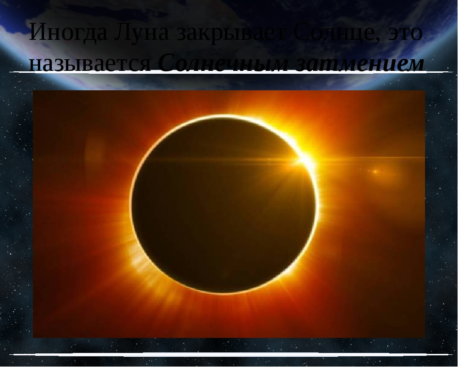Иногда Луна закрывает Солнце, это называется Солнечным затмением