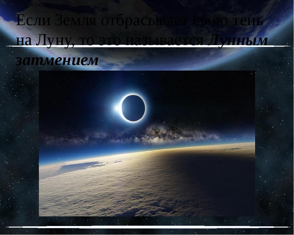 Если Земля отбрасывает свою тень на Луну, то это называется Лунным затмением