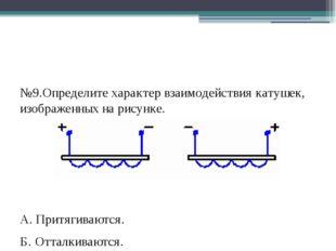 №9.Определите характер взаимодействия катушек, изображенных на рисунке. А. П