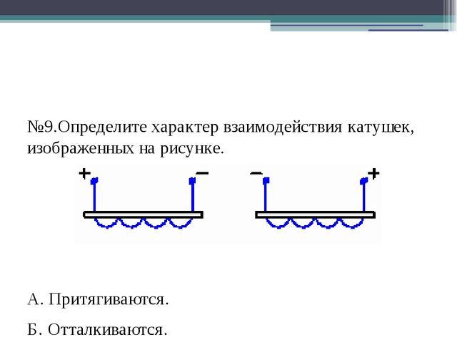№9.Определите характер взаимодействия катушек, изображенных на рисунке. А. П...