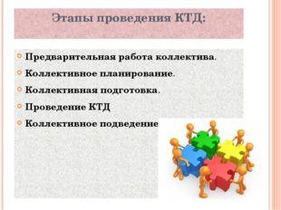 Этапы проведения КТД: Предварительная работа коллектива. Коллективное планиро
