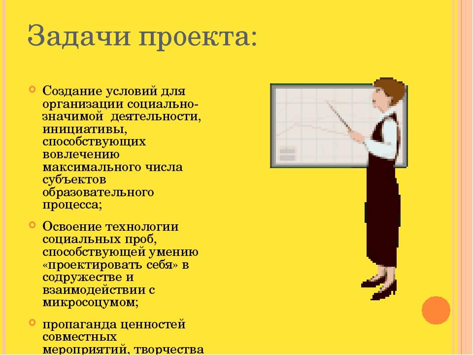 Задачи проекта: Создание условий для организации социально-значимой деятельно...