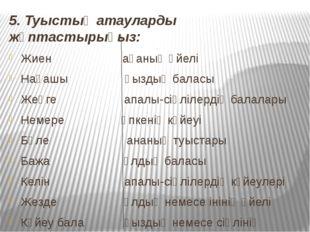 5. Туыстық атауларды жұптастырыңыз: Жиен ағаның әйелі Нағашы қыздың баласы Же