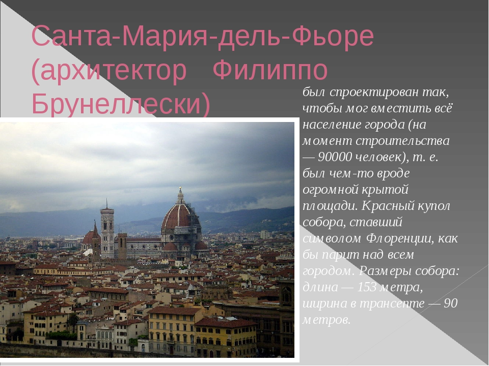 Санта-Мария-дель-Фьоре (архитектор Филиппо Брунеллески) был спроектирован так...