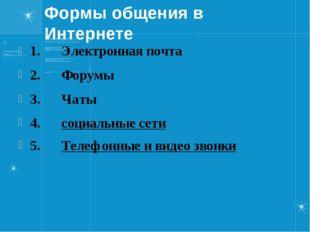 Формы общения в Интернете 1.Электронная почта 2.Форумы 3.Ча