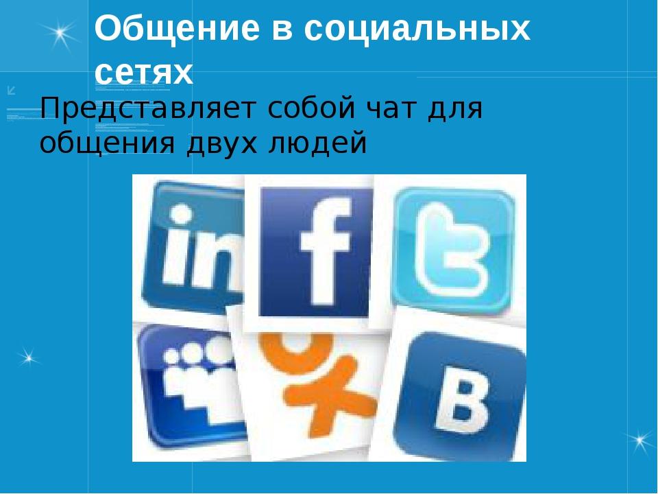 Общение в социальных сетях Представляет собой чат для общения двух людей