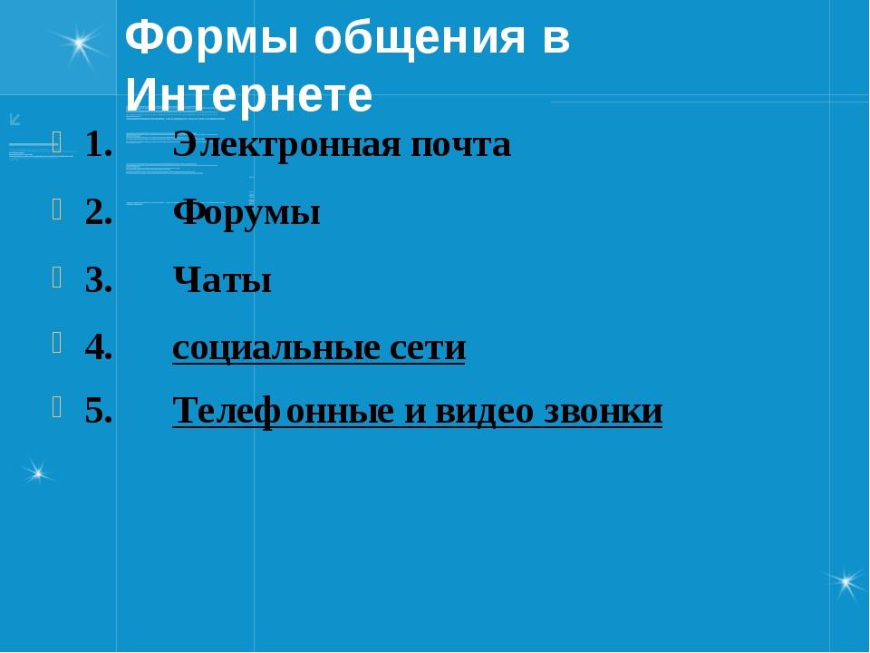 Формы общения в Интернете 1.Электронная почта 2.Форумы 3.Ча...