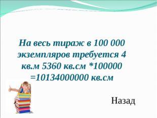 На весь тираж в 100000 экземпляров требуется 4 кв.м 5360 кв.см *100000 =1013