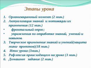 Этапы урока Организационный момент (2 мин.) Актуализация знаний и мотивации и
