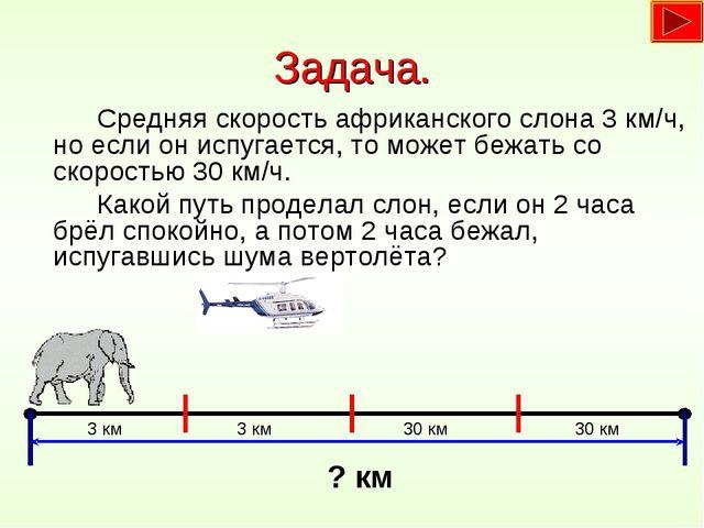 Задача. Средняя скорость африканского слона 3 км/ч, но если он испугается,...