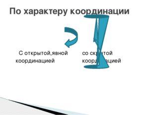 С открытой,явной со скрытой координацией координацией По характеру координации