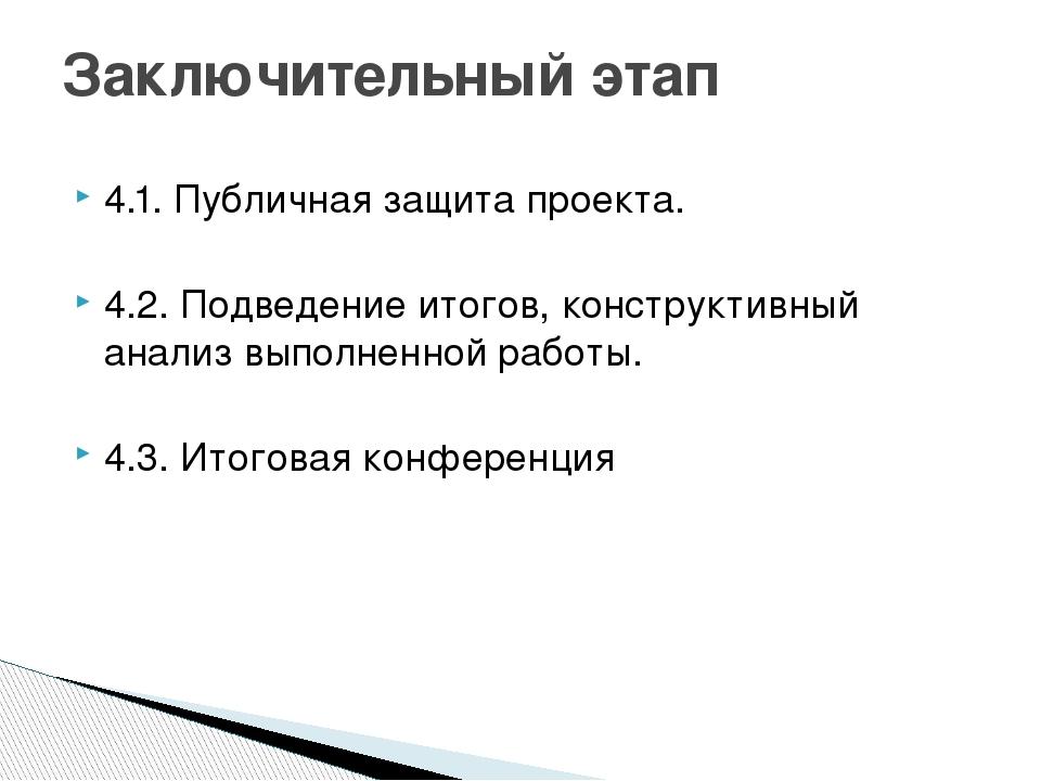 4.1. Публичная защита проекта. 4.2. Подведение итогов, конструктивный анализ...