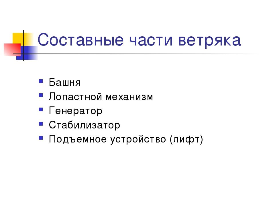Составные части ветряка Башня Лопастной механизм Генератор Стабилизатор Подъе...